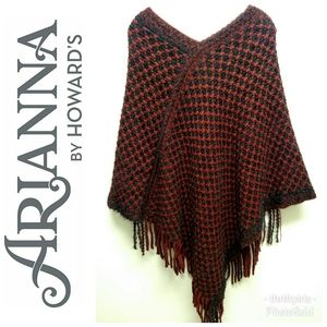 Arianna by Howards-Red & Black Checkered Poncho